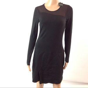 Club Monaco Women Long Sleeve Knit Dress Black S